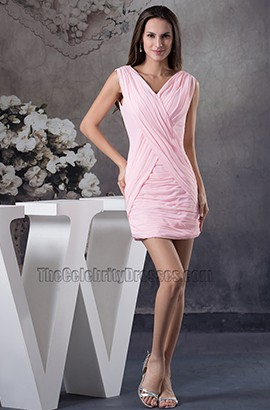 Discount Short Mini V-Neck Pink Chiffon Party Graduation Dresses