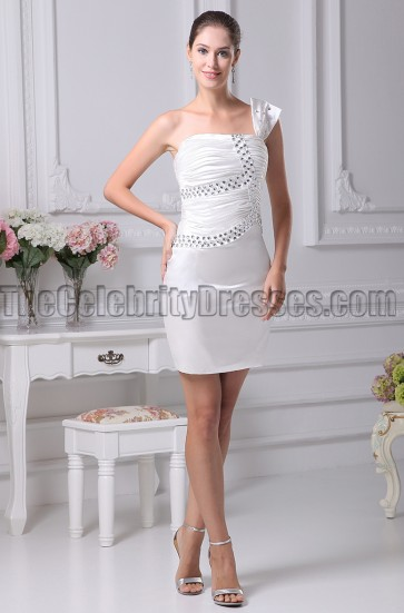 Mini /Short One Shoulder Beaded Party Homecoming Dresses