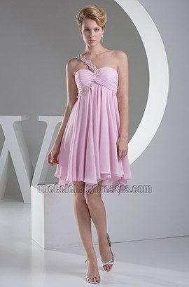 Short Pink A-Line One Shoulder Graduation Party Dress
