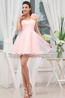 Cute Pink One Shoulder Homecoming Party Sweet 16 Dresses