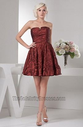 Discount Short Strapless A-Line Taffeta Graduation Party Dresses