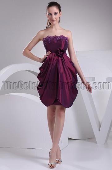 Short \ Mini Strapless Grape Party Homecoming Dresses