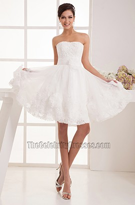 Short Strapless Sweetheart A Line Organza Wedding Dresses