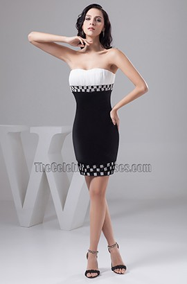 Short White And Black Sweetheart Strapless Party Cocktail Dresses