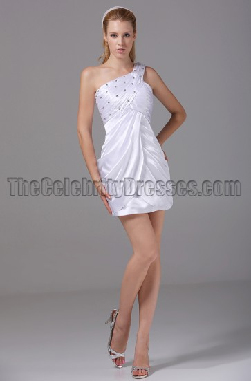 Short White One Shoulder Mini Party Cocktail Dresses