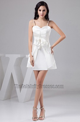 Short White Spaghetti Straps Party Homecoming Dresses