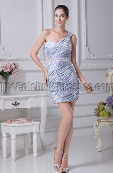 Silver One Shoulder Mini Party Homecoming Dresses