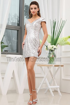 Silver Sequins Short Cocktail Party Homecoming Dresses