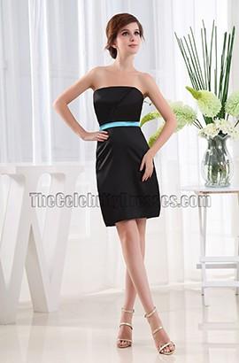 Simple Black Strapless Bridesmaid Party Dresses