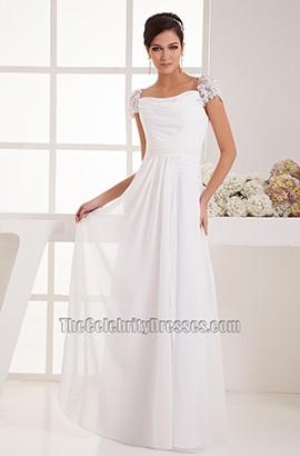 Simple Cap Sleeves Chiffon Floor Length Wedding Dress Bridal Gown