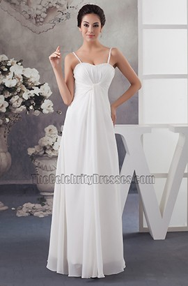 Simple Chiffon A-Line Spaghetti Straps Informal Wedding Dresses