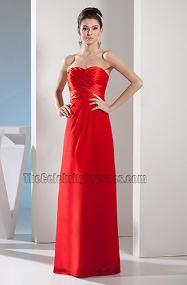 Simple Red Strapless Sweetheart Prom Gown Evening Dress