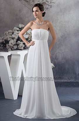 Simple Strapless A-Line Chiffon Informal Wedding Dresses