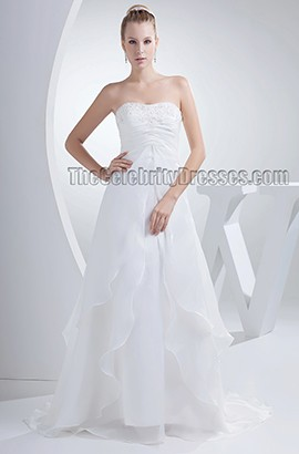 Simple Strapless A-Line Organza Chapel Train Wedding Dresses