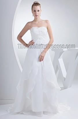 Simple Strapless A-Line Organza Chapel Train Wedding Dresses