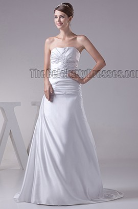 Simple Strapless A-Line Sweetheart Chapel Train Wedding Dress