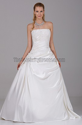 Simple Strapless A-Line Taffeta Wedding Dresses
