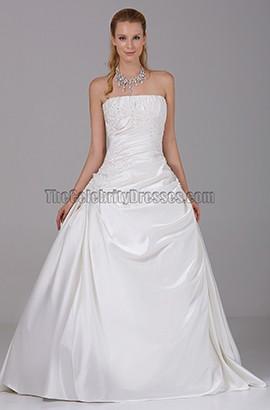 Simple Strapless A-Line Taffeta Wedding Dresses