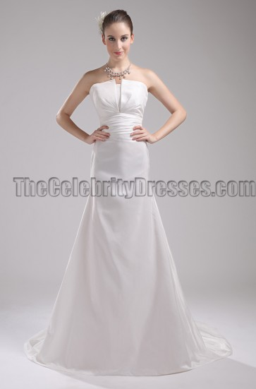 Simple Strapless A-Line Taffeta Wedding Dress