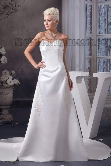 Simple Strapless Sweetheart A-Line Chapel Train Wedding Dress