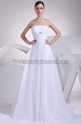 Simple Strapless Taffeta A-Line Chapel Train Wedding Dress