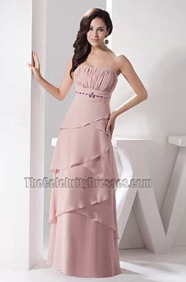 Skin Pink Strapless Chiffon Prom Dress Formal Evening Gown