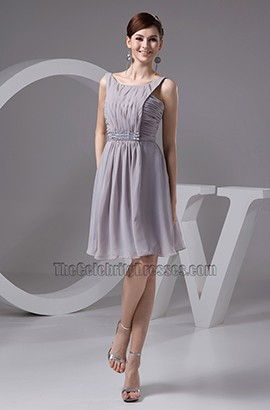 Sliver Chiffon A-Line Graduation Cocktail Party Dresses