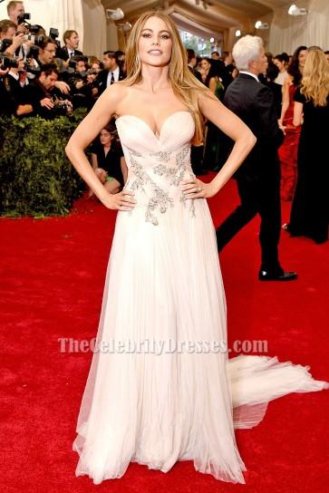 Sofia Vergara Tulle Strapless Formal Evening Dress 2015 Met Gala Red Carpet TCD6138