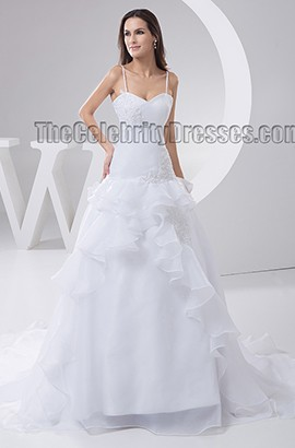 Spaghetti Straps A-Line Chapel Train Wedding Dresses