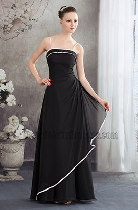 Spaghetti Straps Black A-Line Bridesmaid Prom Dresses