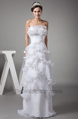 Strapless Ruffles A-Line Floor Length Wedding Dresses