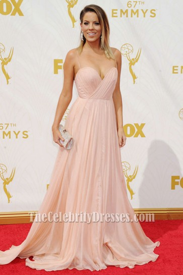 Stephanie Bauer Sexy Spaghetti Straps Formal Dress 67th Emmy Awards TCD6350