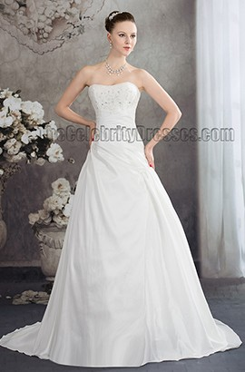 Discount Strapless A-Line Beaded Chapel Train Wedding Dress