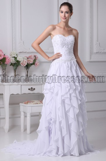 Strapless A-Line Beaded Ruffle Wedding Dresses