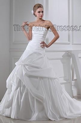 Discount Strapless A-Line Chapel Train Taffeta Wedding Dresses