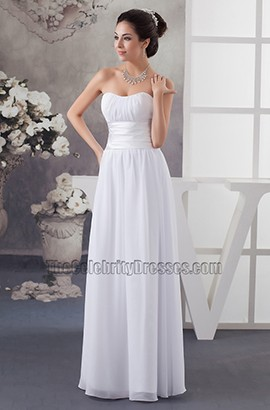 Discount Strapless A-Line Chiffon Floor Length Informal Wedding Dress