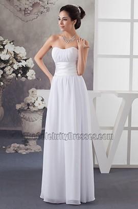 Discount Strapless A-Line Chiffon Floor Length Informal Wedding Dress
