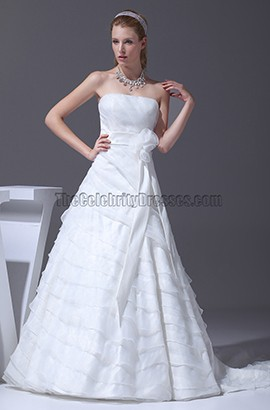 Strapless A-Line Court Train Lace Up Back Wedding Dresses