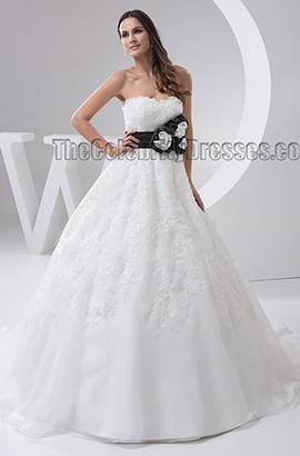 Strapless A-Line Lace Chapel Train Sweetheart  Wedding Dresses