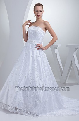 Strapless A-Line Lace Chapel Train Wedding Dress With A Bow
