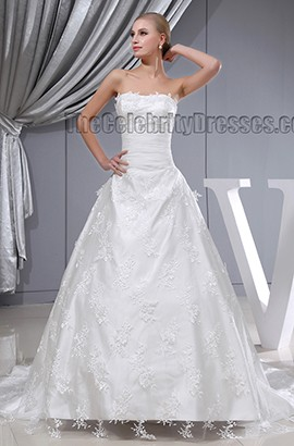 Elegant Strapless A-Line Lace Chapel Train Wedding Dresses