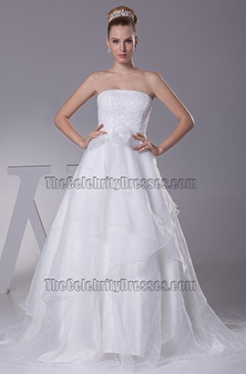 Strapless A-Line Organza Wedding Dresses With Beading