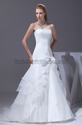 Strapless A-Line Organza Bridal Gown Wedding Dresses