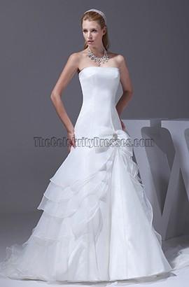 Strapless A-Line Organza Bridal Gown Wedding Dresses