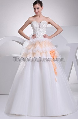 Strapless A-Line Organza Chapel Train Wedding Dresses With Beading