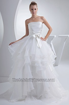 Strapless A-Line Organza Full Length Wedding Dresses