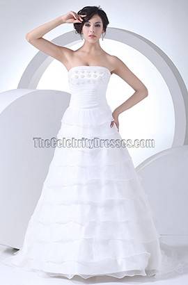 Strapless A-Line Organza Sweep Brush Train Wedding Dress