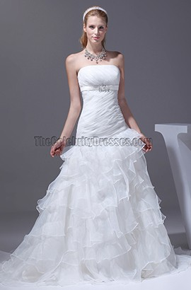 Strapless A-Line Organza Wedding Dress Bridal Gown