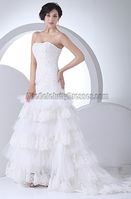 Strapless A-Line Lace Organza Wedding Dress With Beading