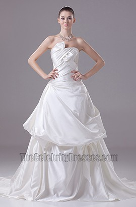 Strapless A-Line Satin Chapel Train Wedding Dresses With Bow